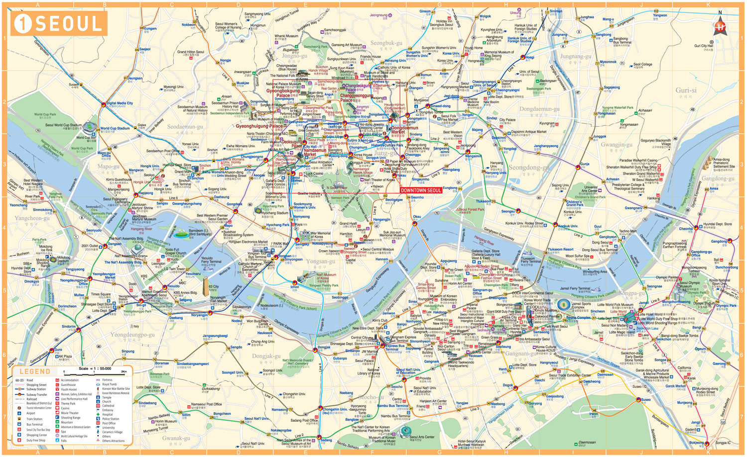 Complete Seoul South Korea Tourism Map – Seoul Tourist Attractions Map