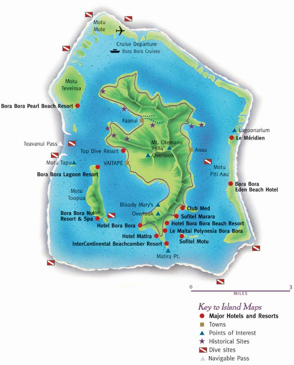 Bora Bora Island Map Dive Sites
